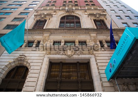 NEW YORK CITY - MAY 17:  Tiffany & Co. Building on Wall Street in the Financial District in NYC on May 17, 2013.  Tiffany's is  a luxury American multinational jewelry and silverware corporation. - stock photo