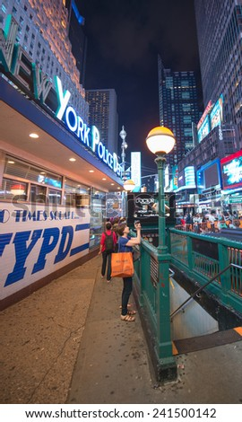 NEW YORK CITY - MAY 20: Times Square is featured with Broadway Theaters and LED signs as a symbol of New York City and the United States. May 20, 2013 in Manhattan, New York City - stock photo