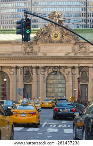 NEW YORK CITY - MAY 14, 2015: Traffic in front of Grand Central Station in New York City. - stock photo