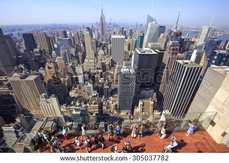New York City - May 25, 2015: View of New York City as seen from the Rockefeller Center Observation Deck. May 25, 2015 New York City, USA.    - stock photo