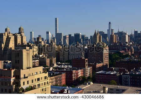 New York City - May 31, 2016:  Vista over the upper west side to the midtown Manhattan skyline