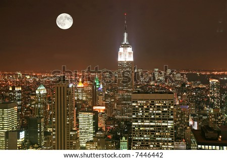 New York City midtown skyline at dark