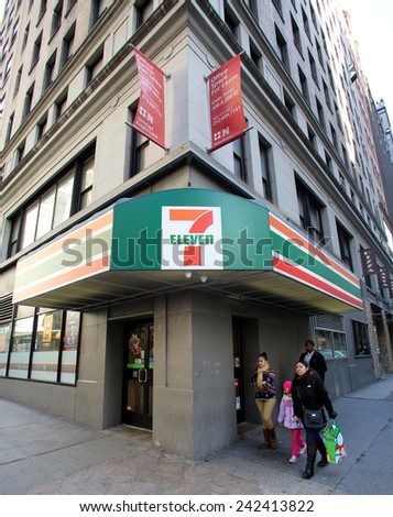 NEW YORK CITY - MONDAY, DEC. 29, 2014: 7-Eleven or 7-11 is an international chain of convenience stores. 7-Eleven is the world's largest operator of convenience stores - stock photo