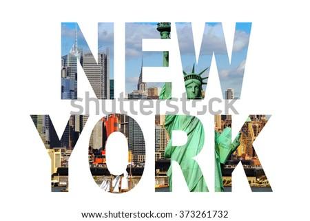 New York city name - USA travel destination sign on white background. - stock photo