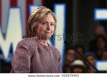New York City, New York, USA, April 19th, 2016; Democratic Presidential Candidate Hillary Clinton speaks during her victory rally at the Sheraton Hotel Times Square.  - stock photo