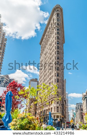 NEW YORK CITY, NEW YORK, USA  MAY 14, 2013:Flatiron Building from Broadway - stock photo
