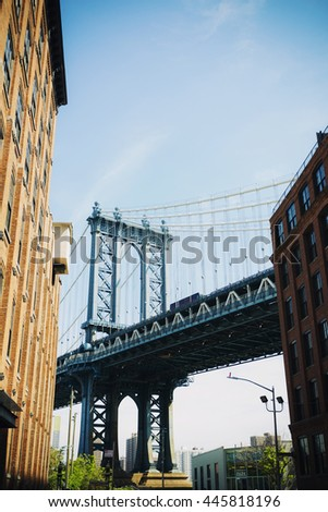 NEW YORK CITY, NEW YORK, USA MAY 2016: Manhattan Bridge under the blue sky. Editorial only.