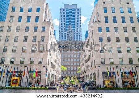 NEW YORK CITY, NEW YORK, USA  MAY 14, 2013: overview of Rockefeller Center - stock photo