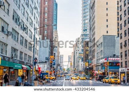 NEW YORK CITY, NEW YORK, USA  MAY 23, 2013:Traffic on an Avenue in New York - stock photo