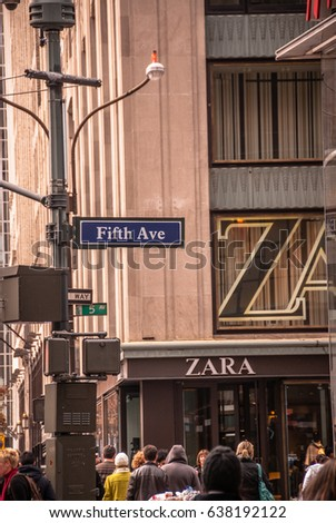 New York City, New York, USA - November 27, 2009: People walk by the Zara clothing store on Fifth Avenue in Manhattan.