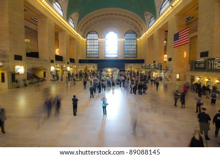 NEW YORK CITY - NOV. 3: Historic Grand Central Terminal in NYC on Nov. 3, 2011.  Opened in 1913, 750,000 people now pass through Grand Central daily and over 1,000,000 people during the holidays. - stock photo
