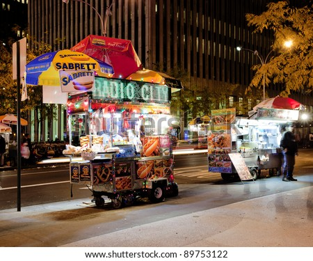 NEW YORK CITY - NOV 13: Midtown, New York state lawmakers are proposing a letter-grading system for street food vendors in New York City, November 13th, 2011 in Manhattan, New York City. - stock photo