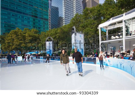 NEW YORK CITY - NOV. 3: View of Citi Pond Rink at Bryant Park, NYC on Nov. 3, 2011.  Once a potters field it's now a landmark with skating, shops, cafes, carousel, games and respite to visitors. - stock photo