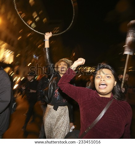 NEW YORK CITY - NOVEMBER 24 2014: after a rally awaiting announcement of the Ferguson grand jury's failure to indict Darren Wilson in the death of Michael Brown, activists took to the streets of NYC