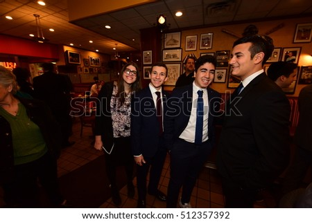 NEW YORK CITY - NOVEMBER 4 2016: Key figures in New York's Democratic Party gathered at Junior's in Brooklyn for Steve Cohn's annual pre-election breakfast.