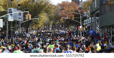 NEW YORK CITY - NOVEMBER 6 2016: More than 50,000 runners took part in the 46th annual TCS NYC Marathon, which course ran through all five boroughs