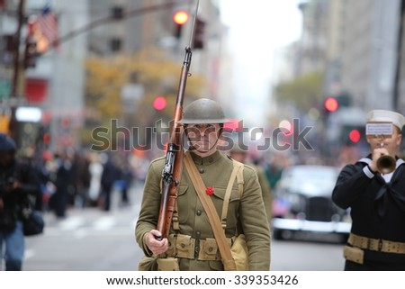 NEW YORK CITY - NOVEMBER 11 2015: New York City's Veterans Day was led by the US navy & grand marshal & world war two naval veteran Robert Morgenthau. World War one AEF uniform