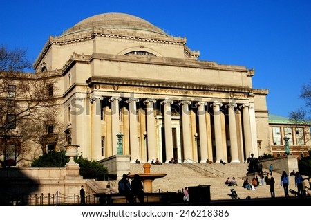 New York City - November 25, 2006:  Students on the steps in front of the Library of Columbia University - stock photo