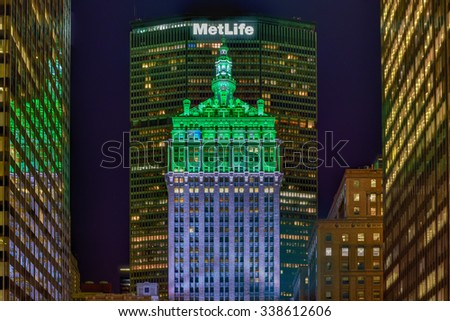 New York City - November 8, 2015: The Helmsley Building in New York, NY at night. The 35-story building is the tallest in the Grand Central Terminal Complex and was designated a city landmark in 1987. - stock photo