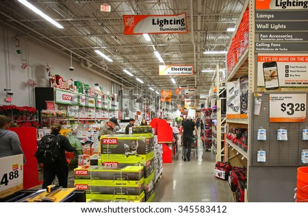 NEW YORK CITY - NOVEMBER 29 2015: The Home Depot, founded in 1978 & headquartered in Atlanta, is the nation's largest big box home improvement store. Interior of South Brooklyn store - stock photo