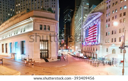 NEW YORK CITY, NY - AUG 8: Wall Street New York Stock Exchange is the world's largest stock exchange by market capitalization of its listed companies. August 8, 2010 in Manhattan, New York City. - stock photo