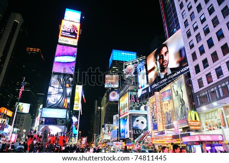 NEW YORK CITY, NY - JAN 30:Times Square symbolizes the prosperity and modern commercial atmosphere of Manhattan as the famous landmark of United States. January 30, 2011 Manhattan, New York City. - stock photo