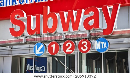 New York City, NY - June 28, 2014: Entrance to the subway lines 1 2 & 3 in midtown Manhattan on June 28th, 2014. - stock photo