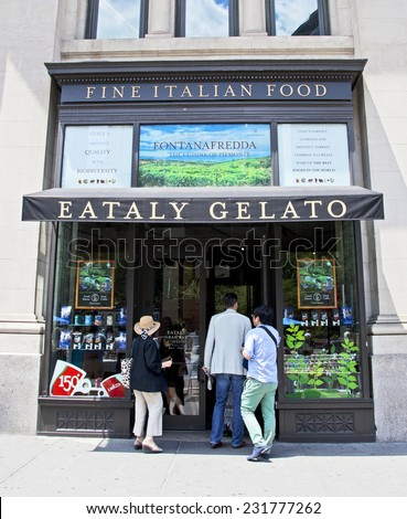 New York City, NY - June 28, 2014: Famous grocery and restaurant called Eataly in lower Manhattan where people can purchase and eat the finest Italian food products. - stock photo