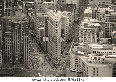NEW YORK CITY, NY - MAR 30: Flatiron Building aerial view on March 30, 2011 in New York City. Flatiron building designed by Chicago's Daniel Burnham was designated a New York City landmark in 1966. - stock photo