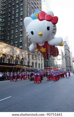 NEW YORK CITY, NY - NOVEMBER 24: A Hello Kitty balloon floats in the Macy's 85th Annual Thanksgiving Day Parade on November 24, 2011 in New York City, New York. - stock photo