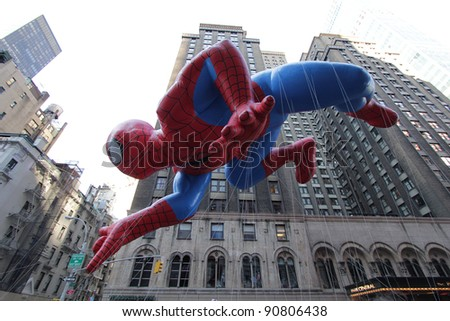 NEW YORK CITY, NY - NOVEMBER 24: Spider-man in the Macy's 85th Annual Thanksgiving Day Parade on November 24, 2011 in New York City, New York. - stock photo
