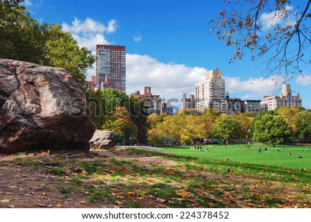 NEW YORK CITY, NY - Oct 21: Central Park with National Historic Landmark with 25M annual visitors as the most visited urban park in the United States. October 21, 2010 in Manhattan, New York City. - stock photo