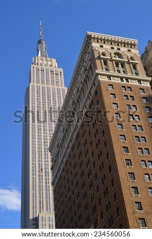 NEW YORK CITY, NY - OCT 29: Empire State Building on Oct. 29, 2013 in New York City. Empire State Building is a 102-story landmark was world's tallest building for more than 40 years  - stock photo