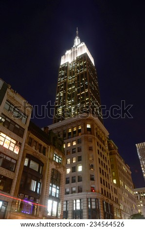 NEW YORK CITY, NY - OCT 29: The Empire State Building at night on Oct. 29, 2013 in New York City. Empire State Building is a 102-story landmark. It was world's tallest building for more than 40 years