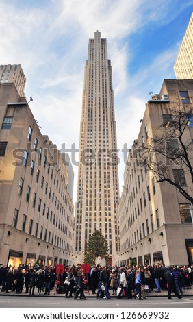 NEW YORK CITY, NY, USA - DEC 30: Rockefeller Center in the day on December 30, 2011 New York City. It was built by the Rockefeller family in 1939 and was declared a National Historic Landmark in 1987. - stock photo
