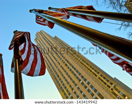 "NEW YORK CITY, NY, USA - DECEMBER 13: Rockefeller Center at night on 20 December , 2013, New York City.  Built by the Rockefeller family in 1939, location of the TV series ""30 Rock"" - stock photo"