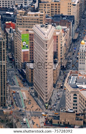 NEW YORK CITY, NY, USA - MAR 30: Flatiron Building was designed by Chicago's Daniel Burnham and was designated a New York City landmark in 1966. March 30, 2011 in Manhattan, New York City.