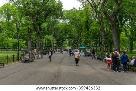 New York City, NY USA - 05/01/2015 - New York City Central Park Mall