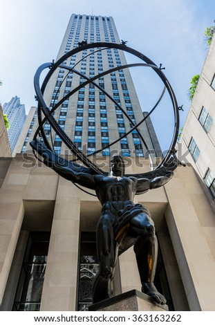 New York City, NY USA - 05/01/2015 - New York City Rockefeller Center With Atlas Statue   - stock photo