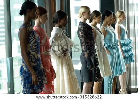 NEW YORK CITY, NY/USA -  SEPTEMBER  10  2015: Models pose at the John Paul Ataker Spring/Summer 2016 Presentation during New York Fashion Week  - stock photo
