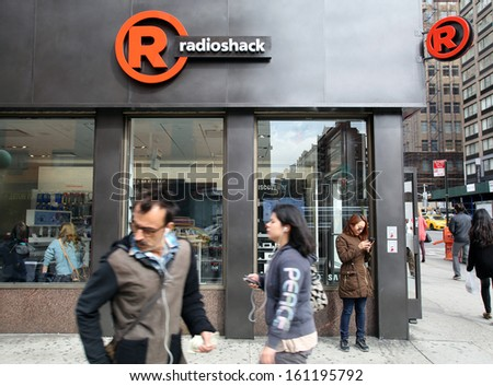 NEW YORK CITY - OCT 23 2013: A general exterior view of a Radio Shack retail store in Manhattan on Wednesday, October 23, 2013.  RadioShack  is an American franchise of electronics retail stores.  - stock photo