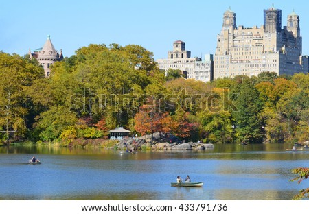 NEW YORK CITY - OCT 27 2013: Architecture view of The Century apartment building in New York. The art deco building was completed in 1931 and is part of Central Park West Historic District. - stock photo