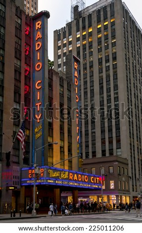 NEW YORK CITY - OCT 18: Radio City Music Hall at Rockefeller Center on October 18, 2014 in New York, NY. Radio City Music Hall is the worlds largest indoor theater. - stock photo