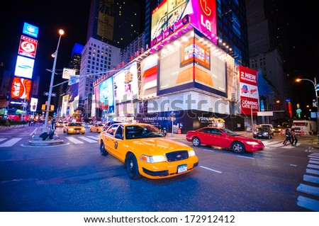 NEW YORK CITY - OCT 13: Times Square, featured with Broadway Theaters and LED signs, is a symbol of New York City and the United States, October 13, 2012 in Manhattan, New York City. - stock photo