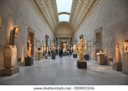 NEW YORK CITY - OCTOBER 22, 2014: Exhibition of Greek Art at Metropolitan Museum of Art. The Met is the largest art museum in the United States - stock photo