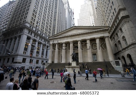 NEW YORK CITY - OCTOBER 1: Federal Hall, built in 1700 , is the site of George Washington's 1789 inauguration as the first President of the United States. October 1, 2010 in New York, NY. - stock photo