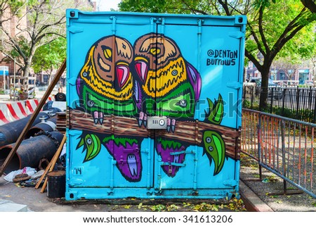NEW YORK CITY - OCTOBER 09, 2015: graffiti art in downtown Manhattan. Graffiti in NYC has had a local, countrywide, and international influence.