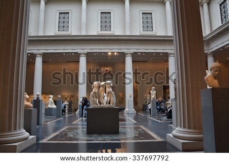 NEW YORK CITY - OCTOBER 22, 2014: Greek and Roman gallery at Metropolitan Museum of Art.The Met is the largest art museum in the United States - stock photo