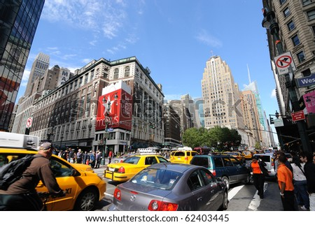NEW YORK CITY - OCTOBER 3: Herald Square is a bustling shopping district October 3, 2010 in New York, New York. - stock photo