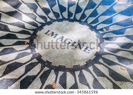 NEW YORK CITY - OCTOBER 12,2015: Imagine mosaic of the Strawberry Fields Memorial, that is dedicated to John Lennon, named after the Beatles song -Strawberry Fields Forever- - stock photo